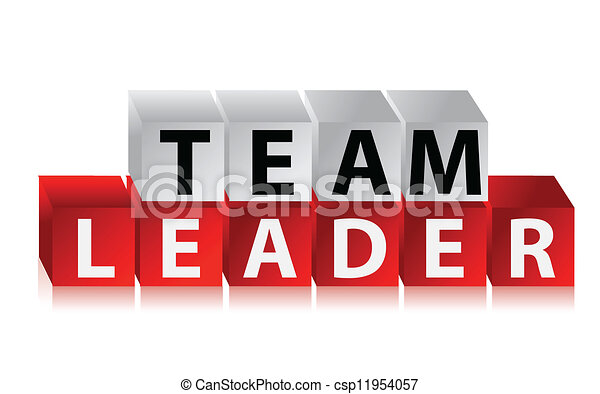 team leader text with red cubes illustration design