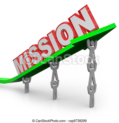 Team Lifting Mission Word on Arrow Job Accomplished - csp9738299
