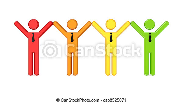 Team of 3D small people. - csp8525071
