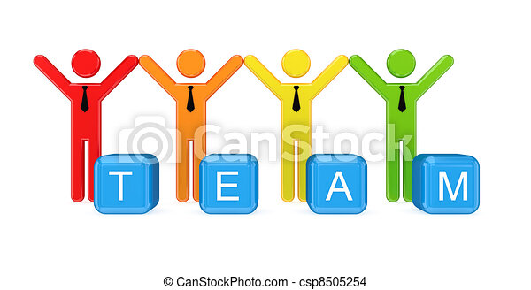 Team of 3D small people. - csp8505254