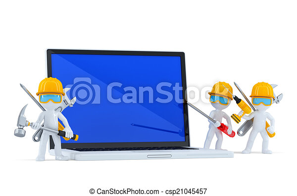Team of construction workers with blank screnn laptop. Isolated. Contains clipping path - csp21045457