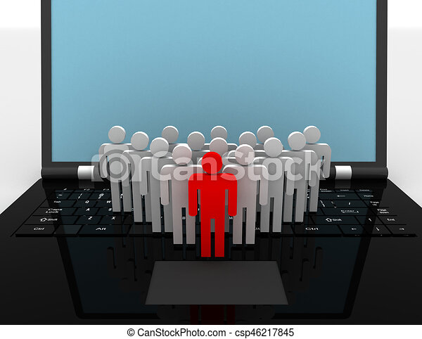 team of people figures on laptop, 3d rendered illustration - csp46217845