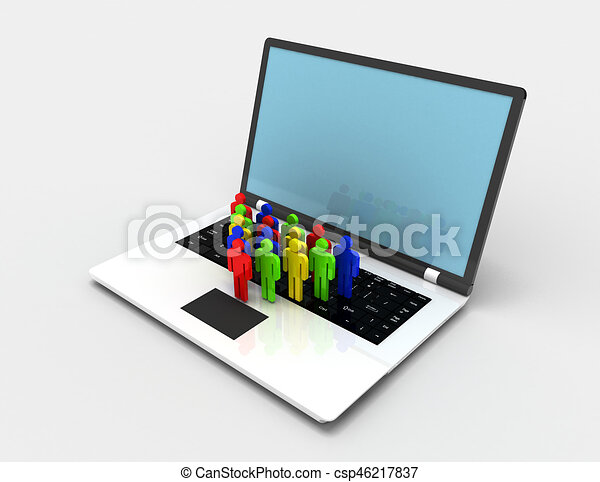 team of people figures on laptop, 3d rendered illustration - csp46217837