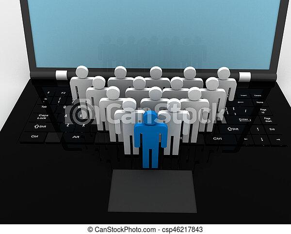 team of people figures on laptop, 3d rendered illustration - csp46217843