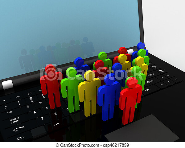 team of people figures on laptop, 3d rendered illustration - csp46217839