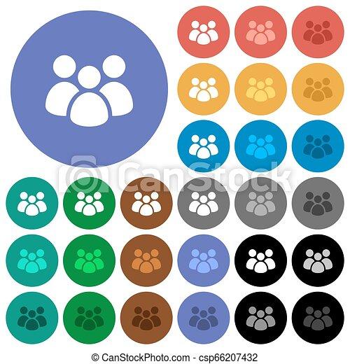 Team round flat multi colored icons - csp66207432