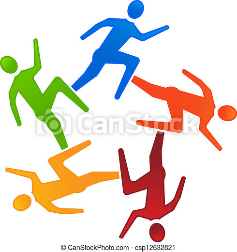 team runners 5 group of team runners in a circle vector rh canstockphoto com running clip art images running clipart