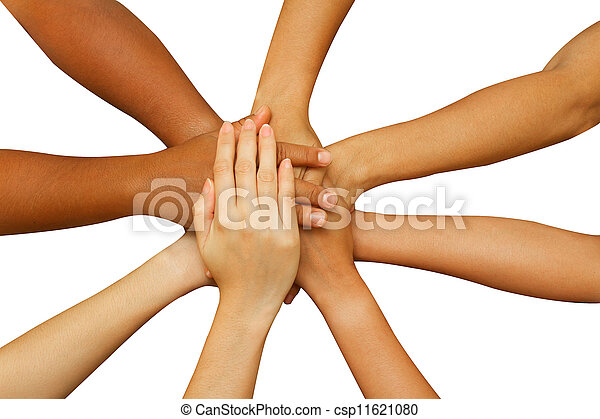 team showing unity, people putting their hands together  - csp11621080