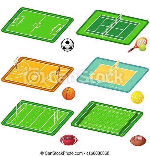 Team sports fields and balls - csp6830068