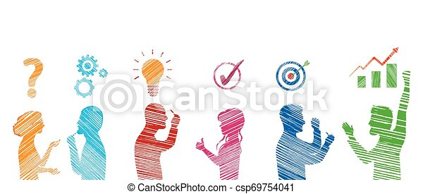 team., success., gesturing., risultato, soluzione, risolvere, concetto, profilo, affari, problema, persone, stickman, analisi, strategia, servizio, colorato, cliente, problems., solution. - csp69754041