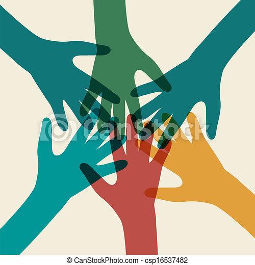 Team symbol. Multicolored hands - csp16537482