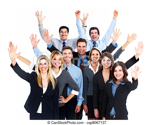 team., vrolijke , zakenlui - csp8067137