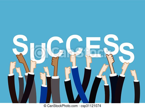 Team work concept hand holding success text sign vector illustration - csp31121074