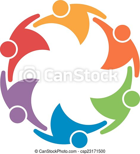 Team work people group of 6 in a circle. Concept of union - csp23171500