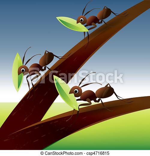 Team Work Spirit Set Of Ants Working Together