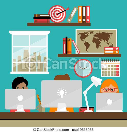 Team works on laptops - csp19516086