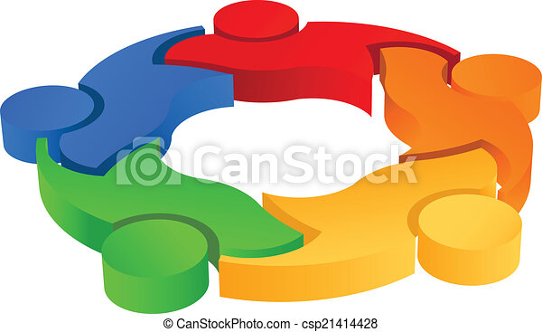 Teaming 5 image. 3D vector icon - csp21414428