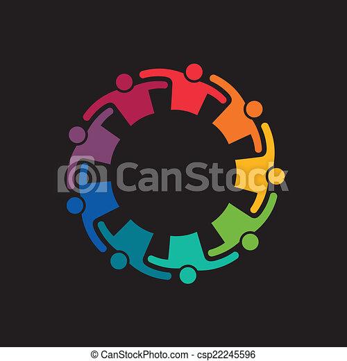 El trabajo en equipo abraza a 9 grupos de personas. Concepto el compromiso, el equipo, unidos. Ícono Vector - csp22245596
