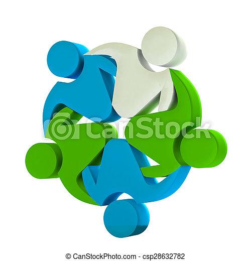 Teamwork 3D business logo - csp28632782