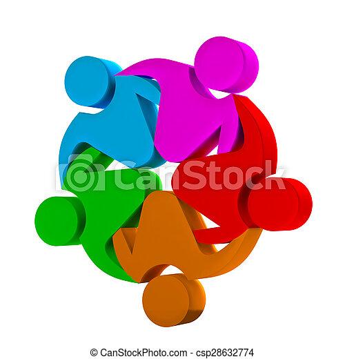 Teamwork 3D social media logo - csp28632774