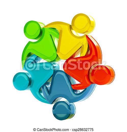 Teamwork 3D social media logo - csp28632775