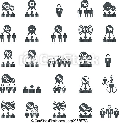 teamwork and business cooperation theme creative vector icons set