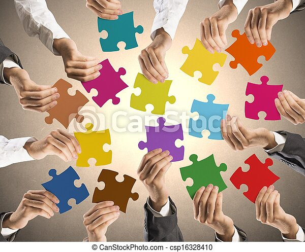 Teamwork and integration concept - csp16328410