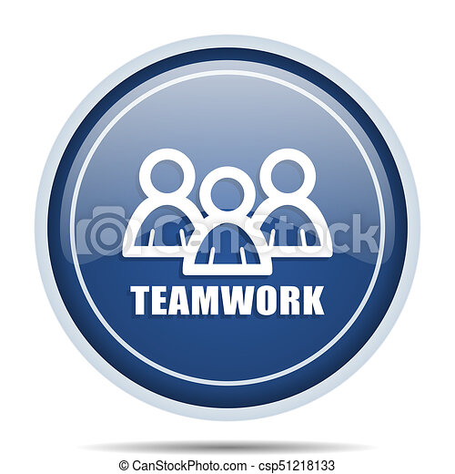 Teamwork blue round web icon. Circle isolated internet button for webdesign and smartphone applications. - csp51218133