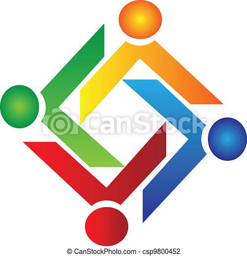 Teamwork charity people logo vector - csp9800452