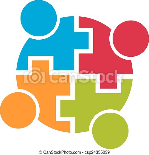 teamwork community connection group of 4 people vector vectors rh canstockphoto com
