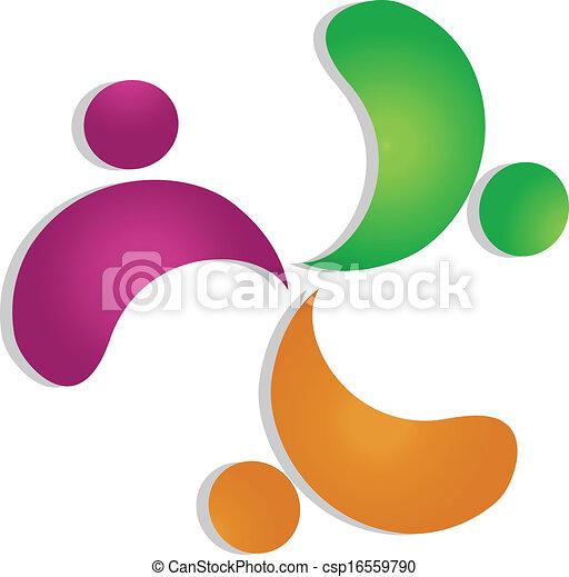 Teamwork concept 3 people logo - csp16559790