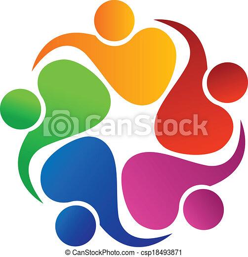 Teamwork friendly people logo - csp18493871
