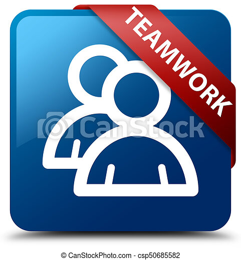 Teamwork (group icon) blue square button red ribbon in corner - csp50685582