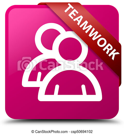 Teamwork (group icon) pink square button red ribbon in corner - csp50694102