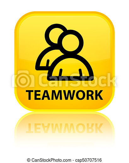 Teamwork (group icon) special yellow square button - csp50707516