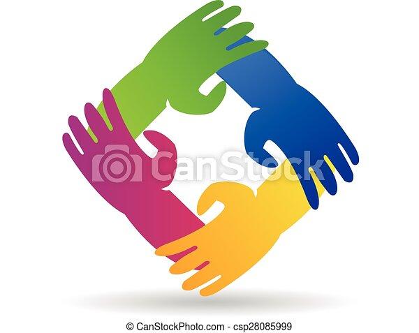 Teamwork hands around logo - csp28085999