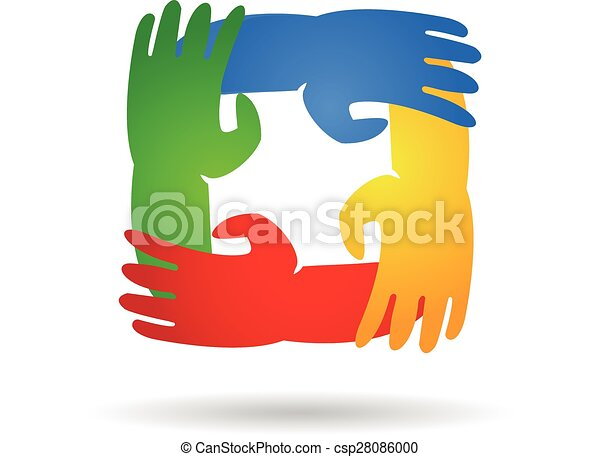 Teamwork hands around logo - csp28086000