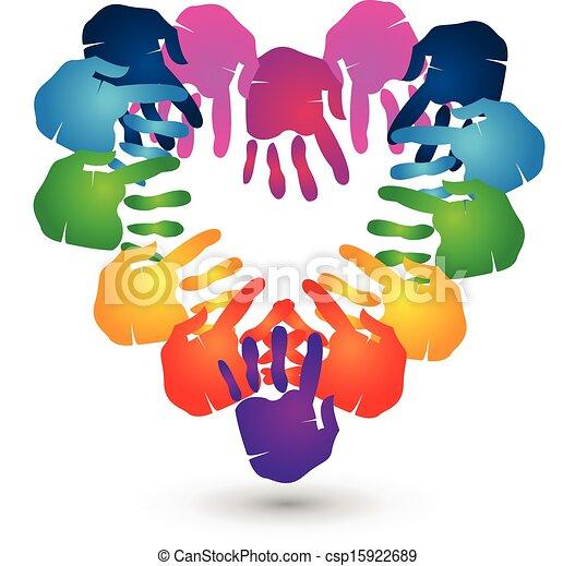 teamwork hands heart shape logo - csp15922689