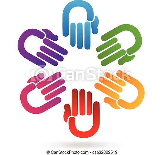 Teamwork hands logo - csp32302519
