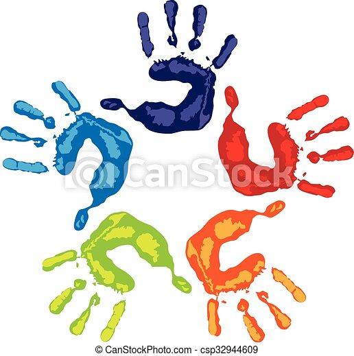 Teamwork hands logo - csp32944609
