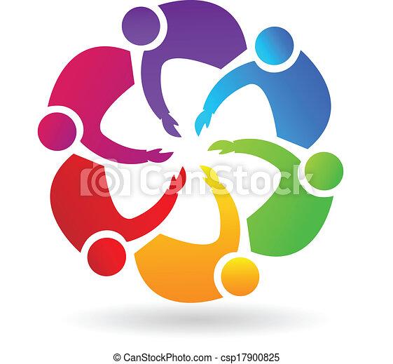 Teamwork handshaking logo - csp17900825