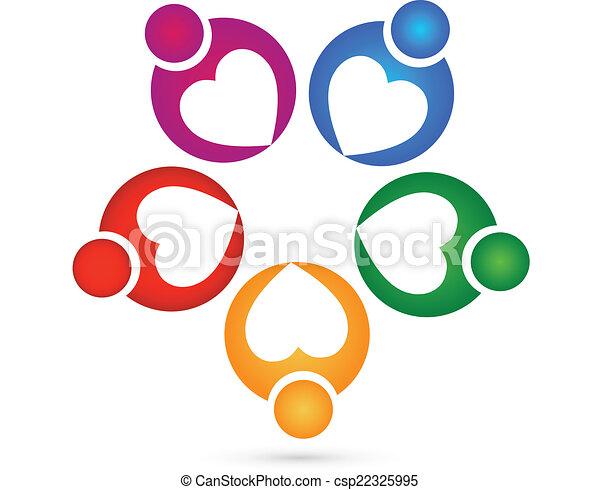 Teamwork hearts charity logo - csp22325995
