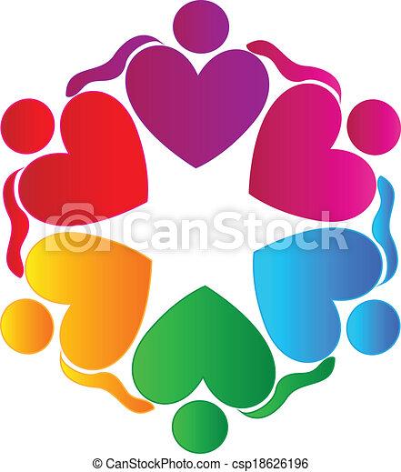 Teamwork hearts hugging people logo - csp18626196