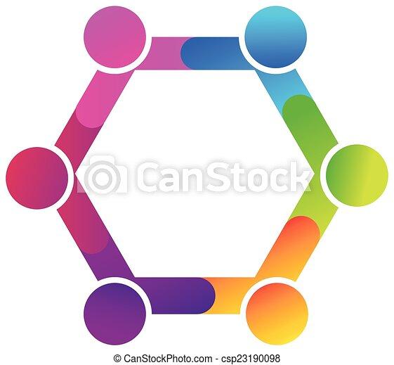 Teamwork hug diversity people logo - csp23190098