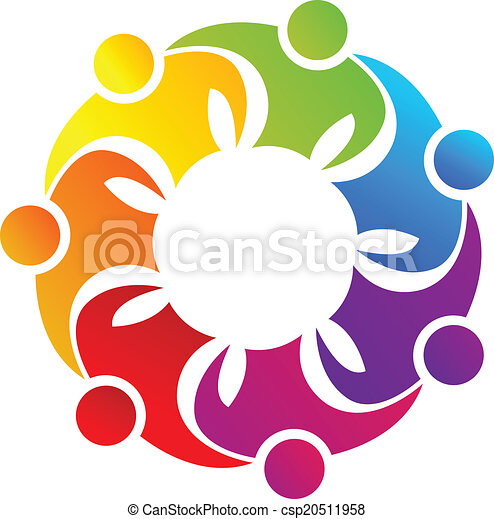 Teamwork hugging people logo - csp20511958