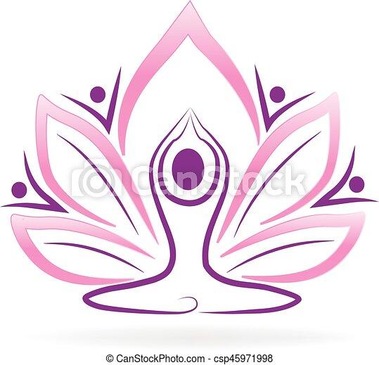 Teamwork Lotus Flower Yoga Logo Lotus Flower Team Yoga Logo