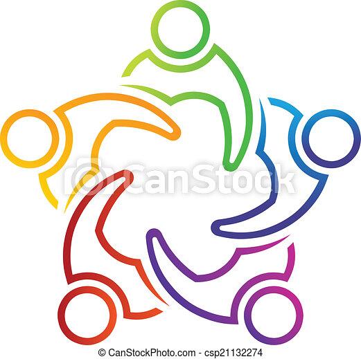 Teamwork Meeting 5 lineal logo - csp21132274