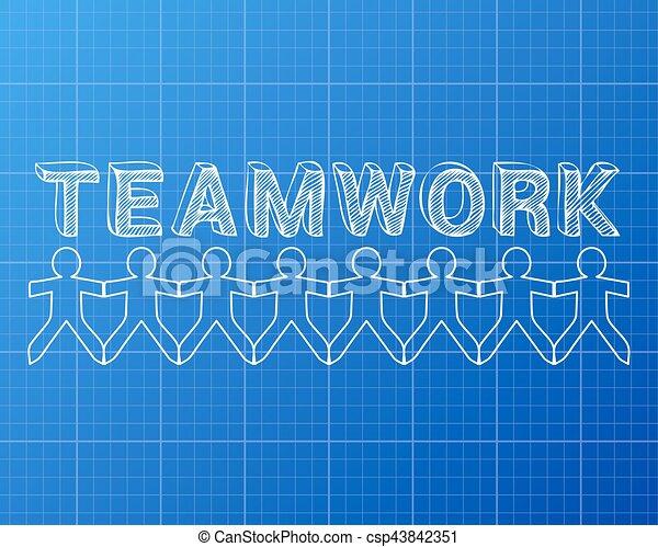 Teamwork people blueprint teamwork hand drawn text and cut out teamwork people blueprint csp43842351 malvernweather Images