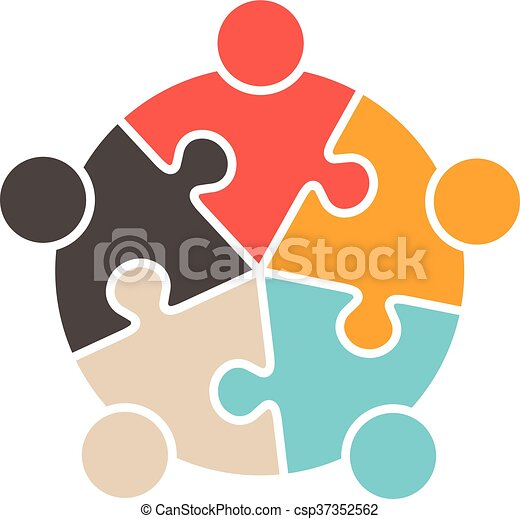 teamwork people five puzzle pieces vector graphic design business clipart free download Free Business Logos Clip Art