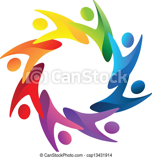 teamwork people helping logo vector vector clip art search rh canstockphoto com  free teamwork clipart images